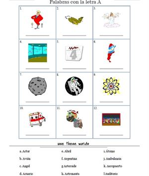 Palabras con la letra A. Tools for Educators
