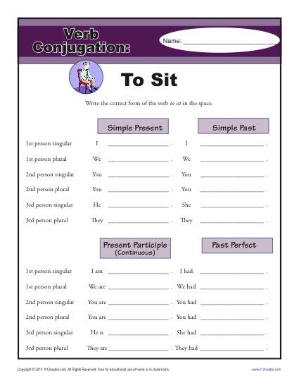 Verb Conjugations: To Sit