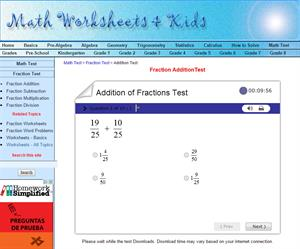 Addition of fraction test  (Math Worksheets 4 Kids)