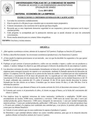 Examen de Selectividad: Economía. Comunidad de Madrid. Convocatoria Junio 2012
