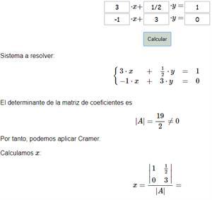 Calculadora de la regla de Cramer
