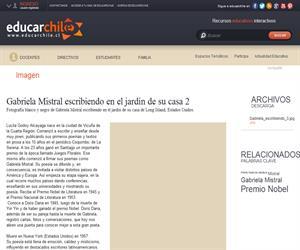 Gabriela Mistral escribiendo en el jardín de su casa 2 (Educarchile)
