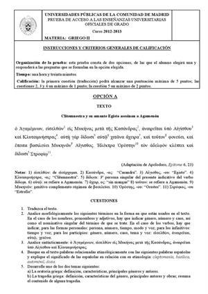 Examen de Selectividad: Griego. Madrid. Convocatoria Septiembre 2013