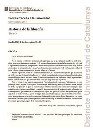 Examen de Selectividad: Historia de la filosofía. Cataluña. Convocatoria Junio 2014