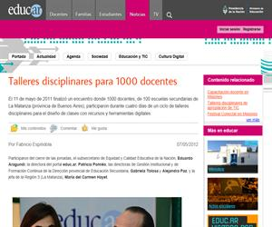 Talleres disciplinares para 1000 docentes
