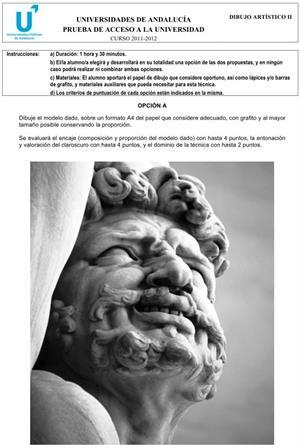 Examen de Selectividad: Dibujo Artístico 2. Andalucía. Convocatoria Junio 2012