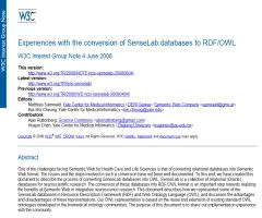 Experiences with the conversion of SenseLab databases to RDF/OWL