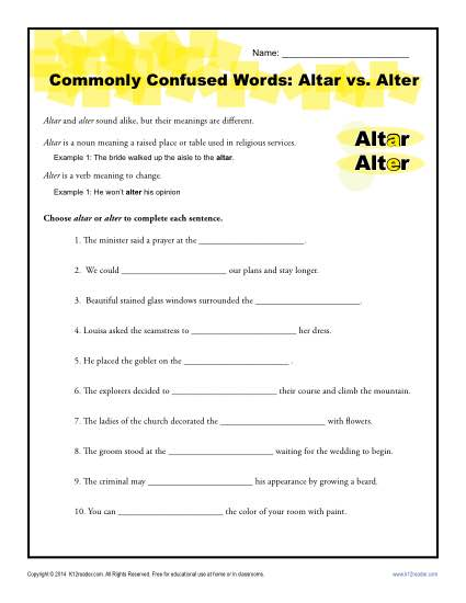 Commonly Confused Words Worksheet: Altar vs Alter