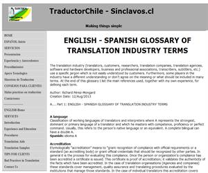 English Spanish glossary and definitions of translation industry terms, Glosario de Traducción