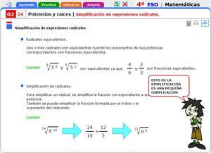 Simplificación de expresiones radicales. Matemáticas para 4º de Secundaria