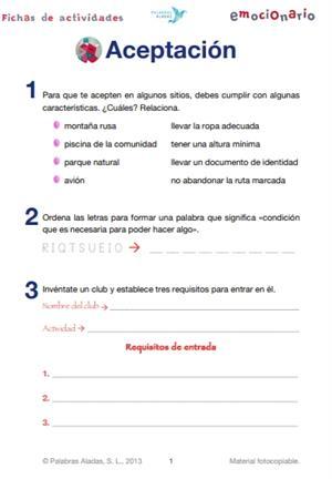 Ficha de actividades sobre la aceptación. Emocionario