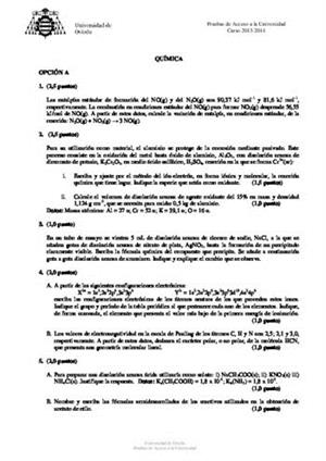 Examen de Selectividad: Química. Asturias. Convocatoria Junio 2014