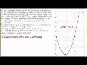 Problemas de funciones. Función cuadrática (parábola). Cibermatex