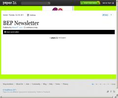 BEP Newsletter is out ! Edition of Wednesday, Oct. 05, 2011