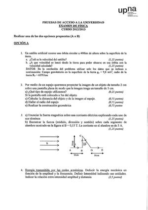 Examen de Selectividad: Física. Navarra. Convocatoria Julio 2013