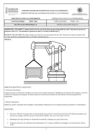 Examen de Selectividad: Tecnología industrial. Comunidad Valenciana. Convocatoria Junio 2013