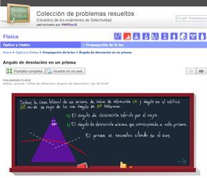 Ángulo de desviación en un prisma. Problema de selectividad. Física (selectividad.tv)