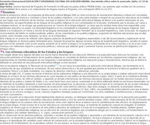 Bilingüismo y educación en la región andina: en búsqueda del aporte de la educación al mantenimiento de las lenguas indígenas.