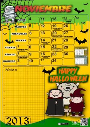 Calendario Noviembre 2013 Halloween (Actiludis)