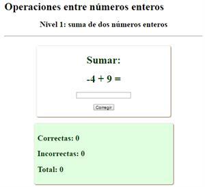 Operaciones con números enteros (interactivo)