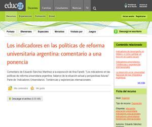 Los indicadores en las políticas de reforma universitaria argentina: comentario a una ponencia