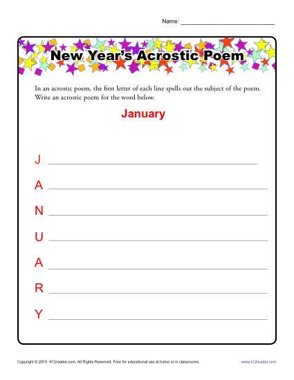 New Year's Acrostic Poem