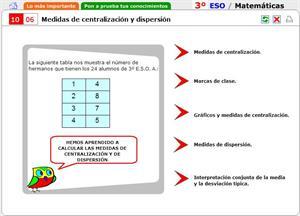 Medidas de centralización y dispersión. Autoevaluación. Matemáticas para 3º de Secundaria