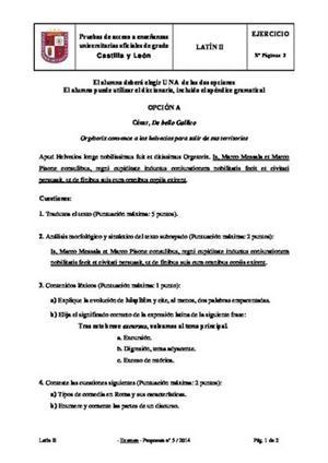 Examen de Selectividad: Latín. Castilla y León. Convocatoria Junio 2014