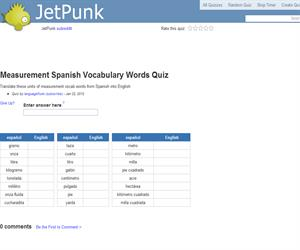 Measurement Spanish Vocabulary Words Quiz