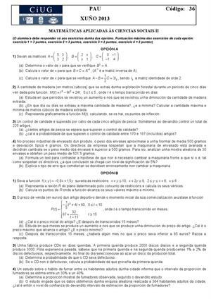 Examen de Selectividad: Matemáticas CCSS. Galicia. Convocatoria Junio 2013