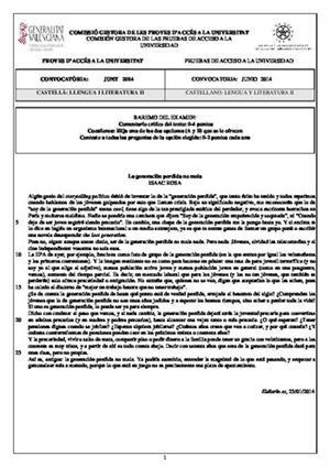 Examen de Selectividad: Lengua castellana y su Literatura. Comunidad Valenciana. Convocatoria Junio 2014