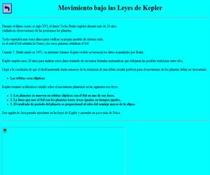 Animación Java: Kepler y el tipo de movimiento