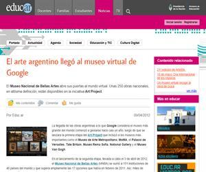 El arte argentino llegó al museo virtual de Google