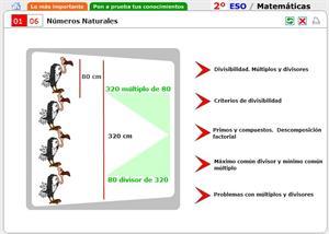 Números naturales. Múltiplos y divisores. Autoevaluación. Matemáticas para 2º de Secundaria