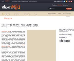 Efeméride Natalicio de Claudio Arrau (Educarchile)