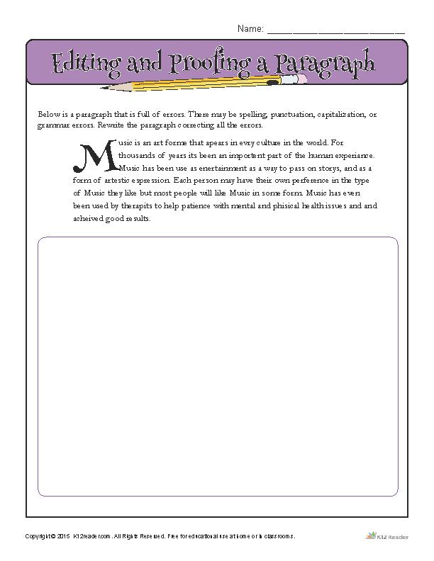 Editing and Proofing a Paragraph