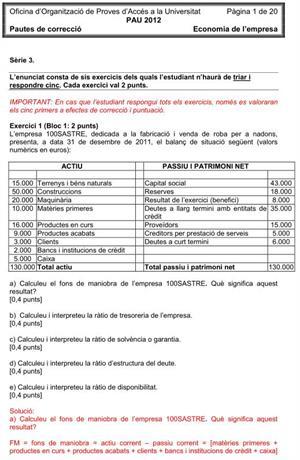 Examen de Selectividad (Soluciones): Economía. Cataluña. Convocatoria Junio 2012