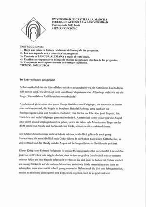 Examen de Selectividad: Alemán. Castilla-La Mancha. Convocatoria Septiembre 2013