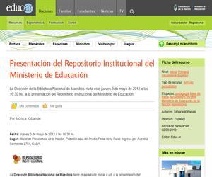 Presentación del Repositorio Institucional del Ministerio de Educación