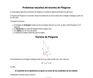 Problemas resueltos del teorema de Pitágoras