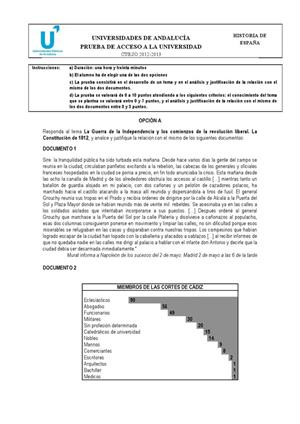 Examen de Selectividad: Historia de España. Andalucía. Convocatoria Junio 2013