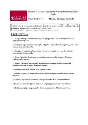 Examen de Selectividad: Anatomía aplicada. Castilla-La Mancha. Convocatoria Junio 2013