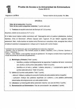 Examen de Selectividad: Latín. Extremadura. Convocatoria Septiembre 2013