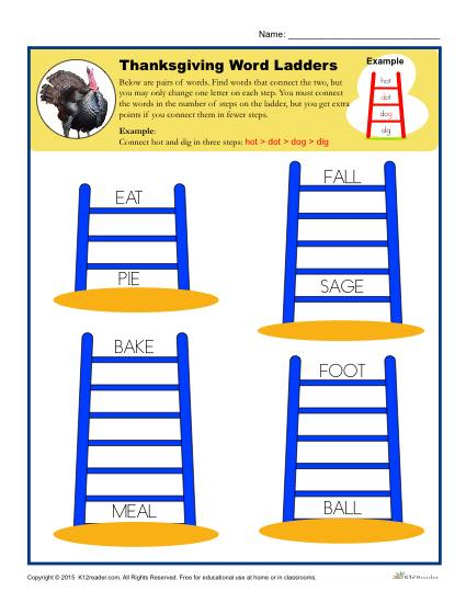Thanksgiving Word Ladders