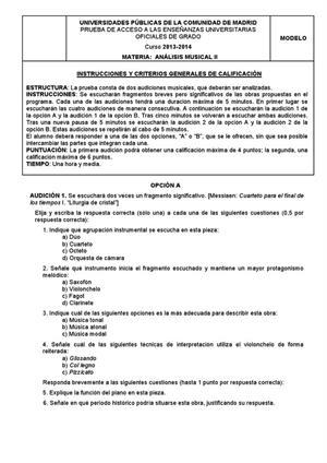 Examen de Selectividad: Análisis musical. Madrid. Convocatoria Junio 2013