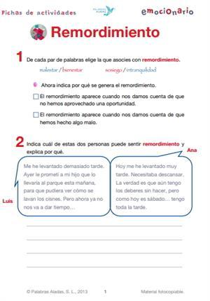 Ficha de actividades sobre el remordimiento. Emocionario