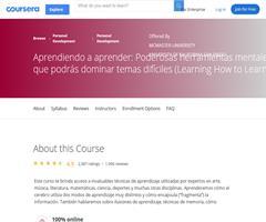 Aprendiendo a aprender: Poderosas herramientas mentales con las que podrás dominar temas difíciles (Learning How to Learn).Coursera
