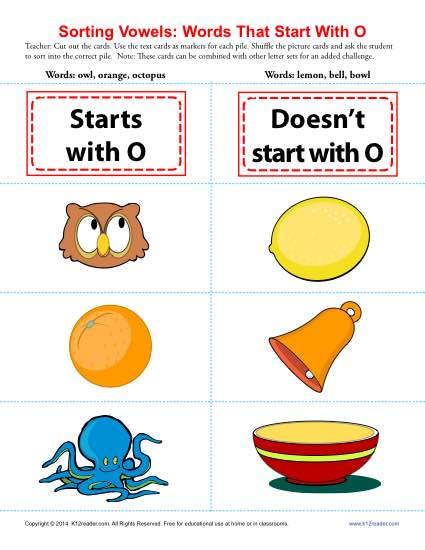 Vowel Sort: Words That Start With O