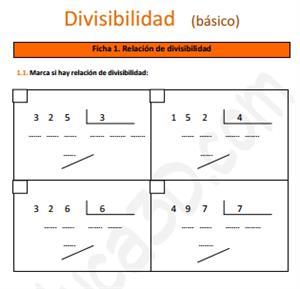 Ficha de ejercicios sobre la Divisibilidad (básico)