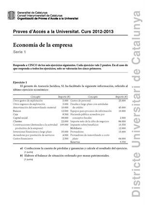 Examen de Selectividad: Economía. Cataluña. Convocatoria Septiembre 2013